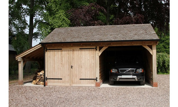 Cheshire oak structures ltd green oak carports for Two bay garage